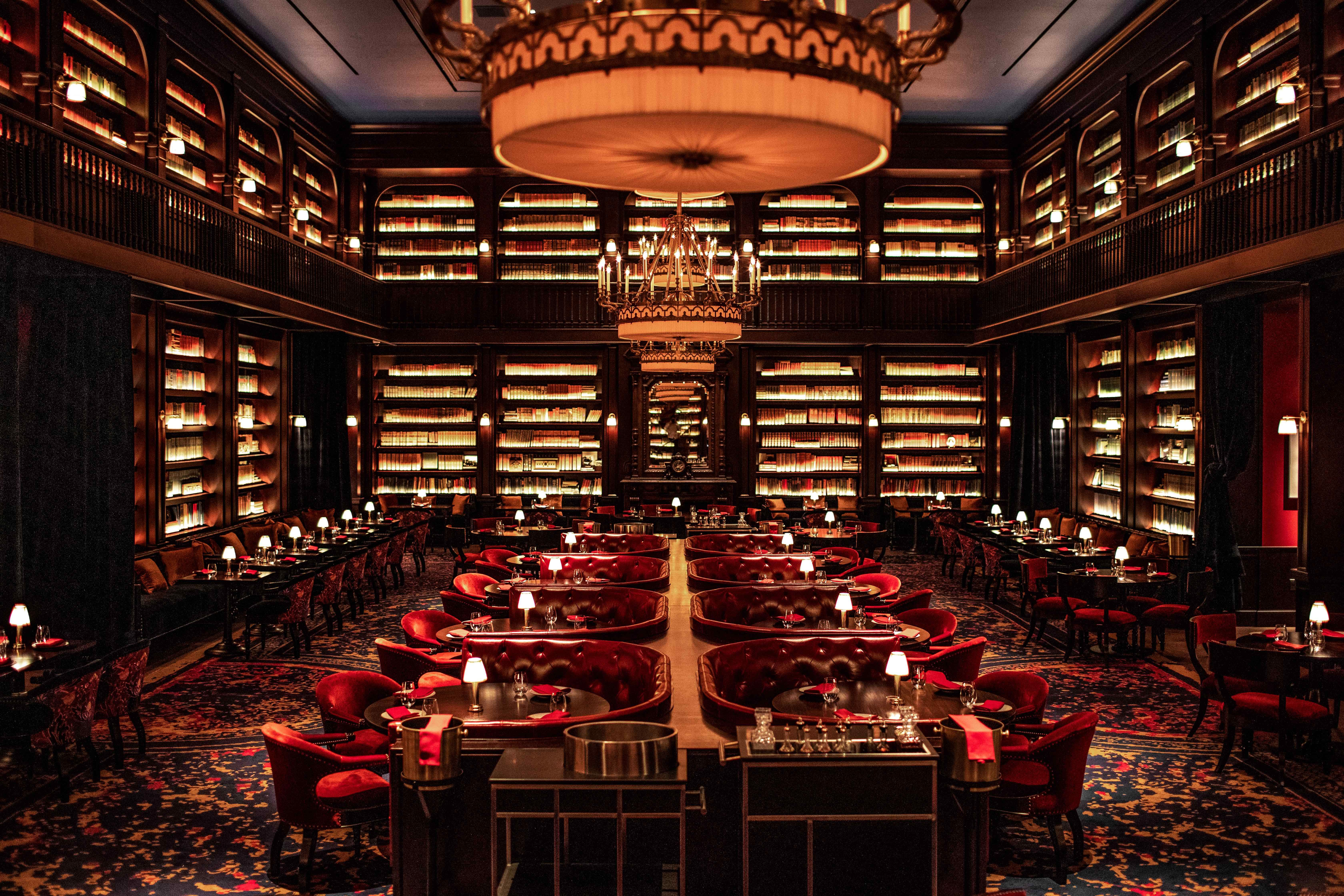 Nomad Restaurant David Rockefeller S Book Collection On Display At Nomad Las Vegas