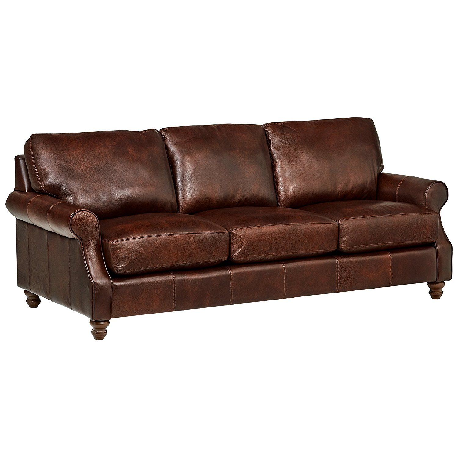 Brown Real Leather Couch Stone Beam Charles Classic Oversized Leather Sofa