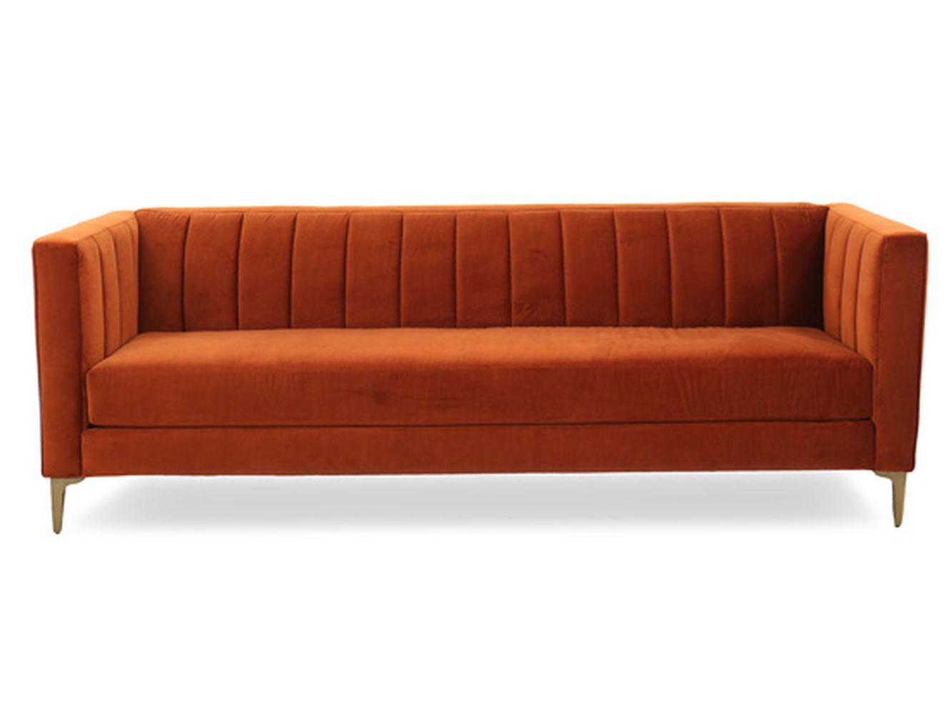 Couch Couch Channel Tufted Velvet Sofa In Orange Crush
