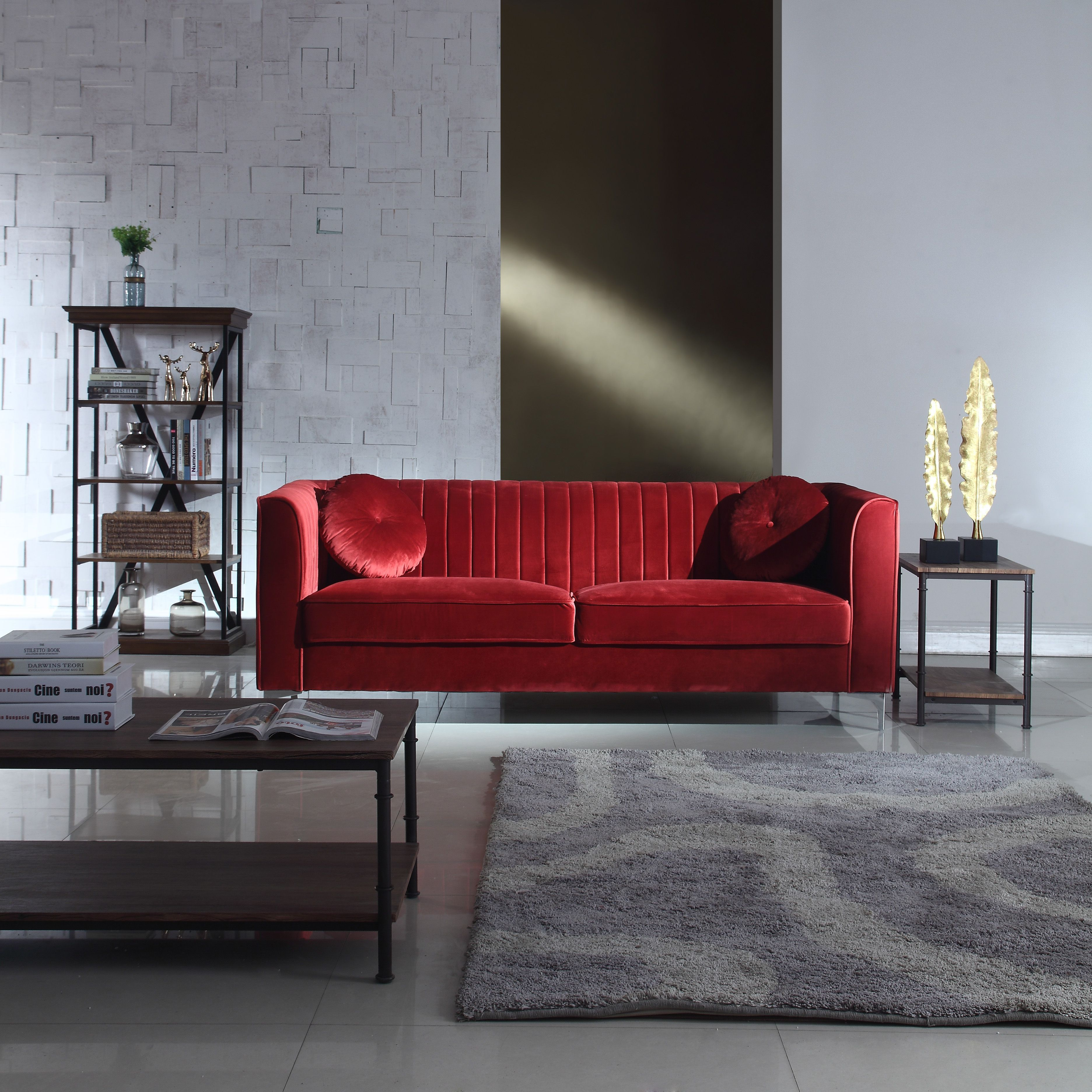 Couches Promotion Red Traditional Velvet Sofa