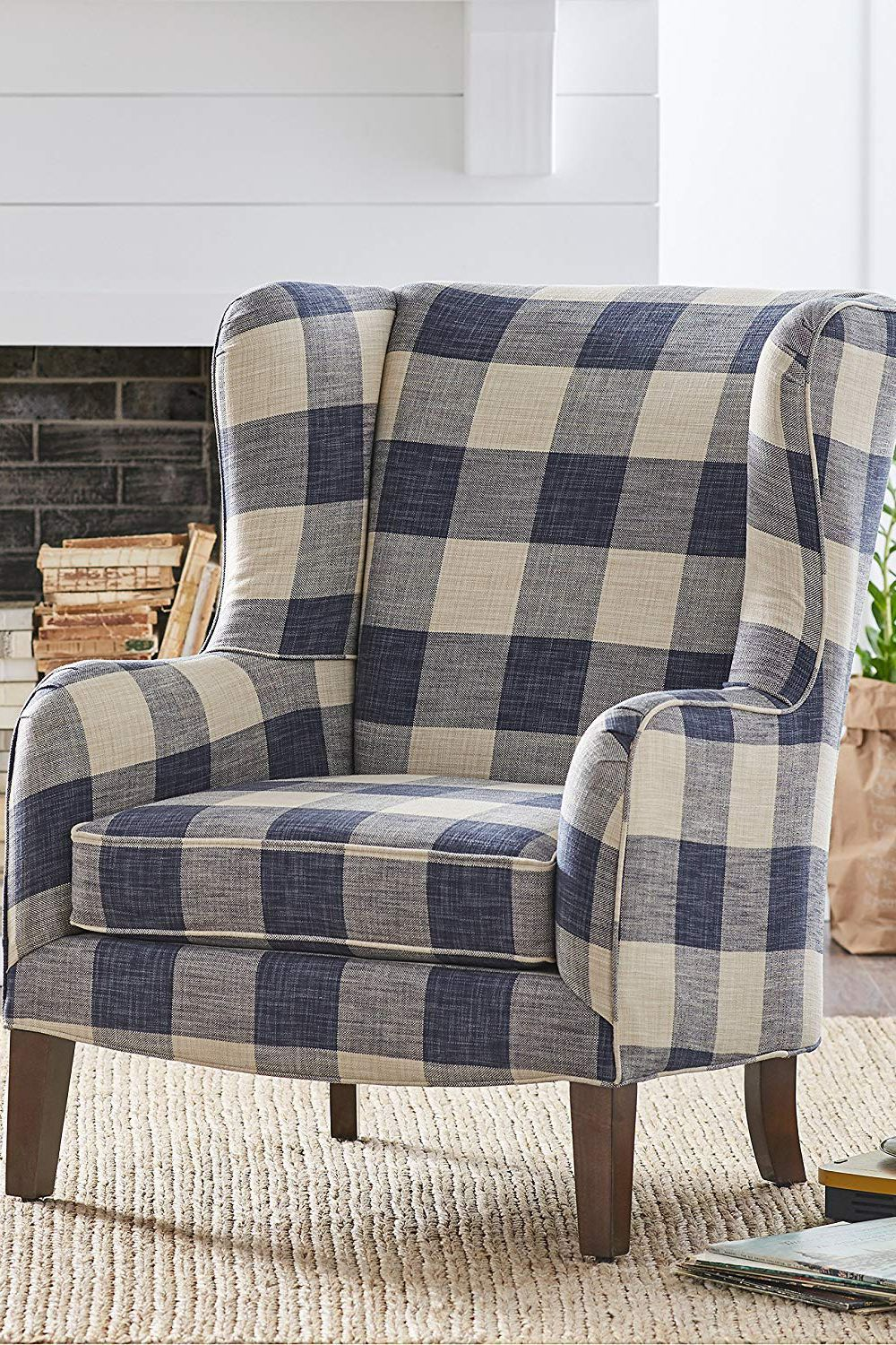 Oversized Reading Chair With Ottoman Sadie Buffalo Check Wingback Chair