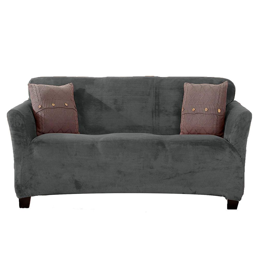 Couch Sofa Great Bay Home Modern Velvet Plush Strapless Slipcover