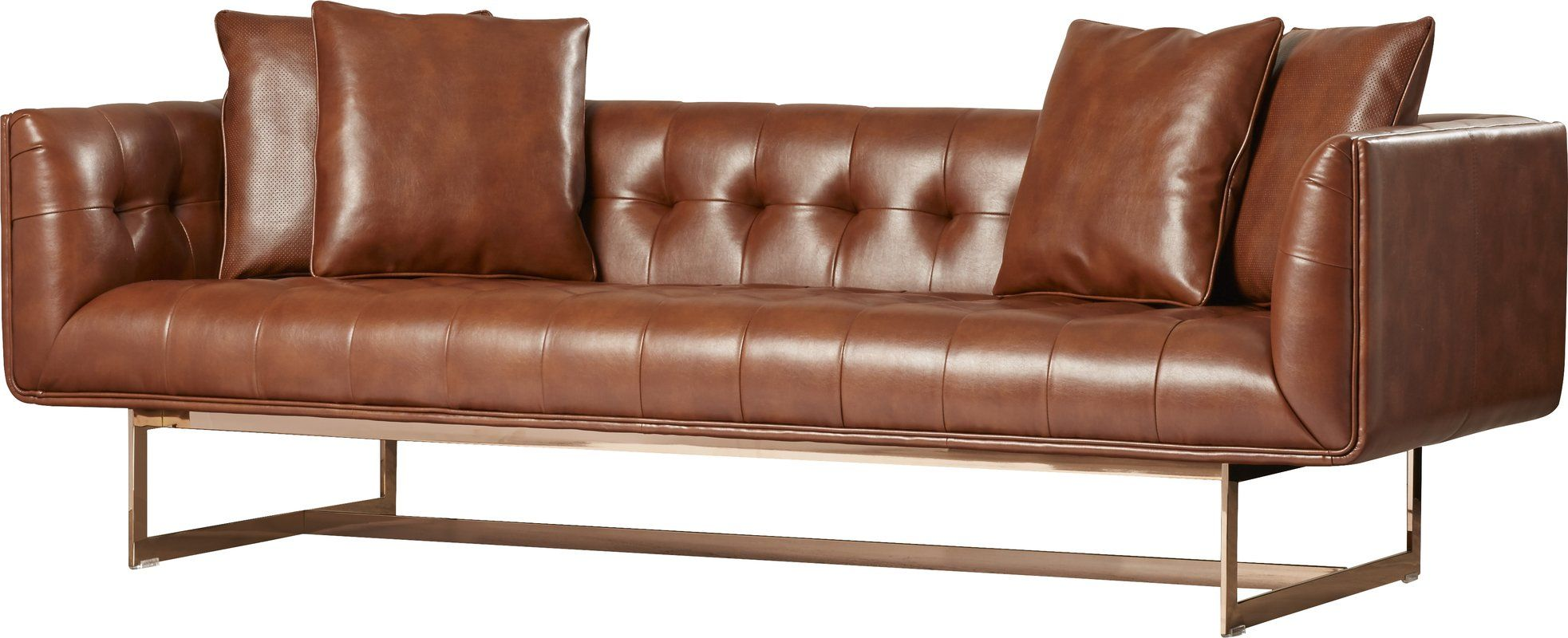 Brown Real Leather Couch Club Chesterfield Sofa