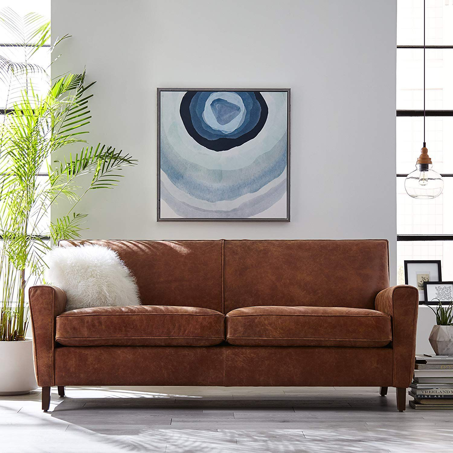 Sofa Couch Rivet Lawson Modern Angled Leather Sofa