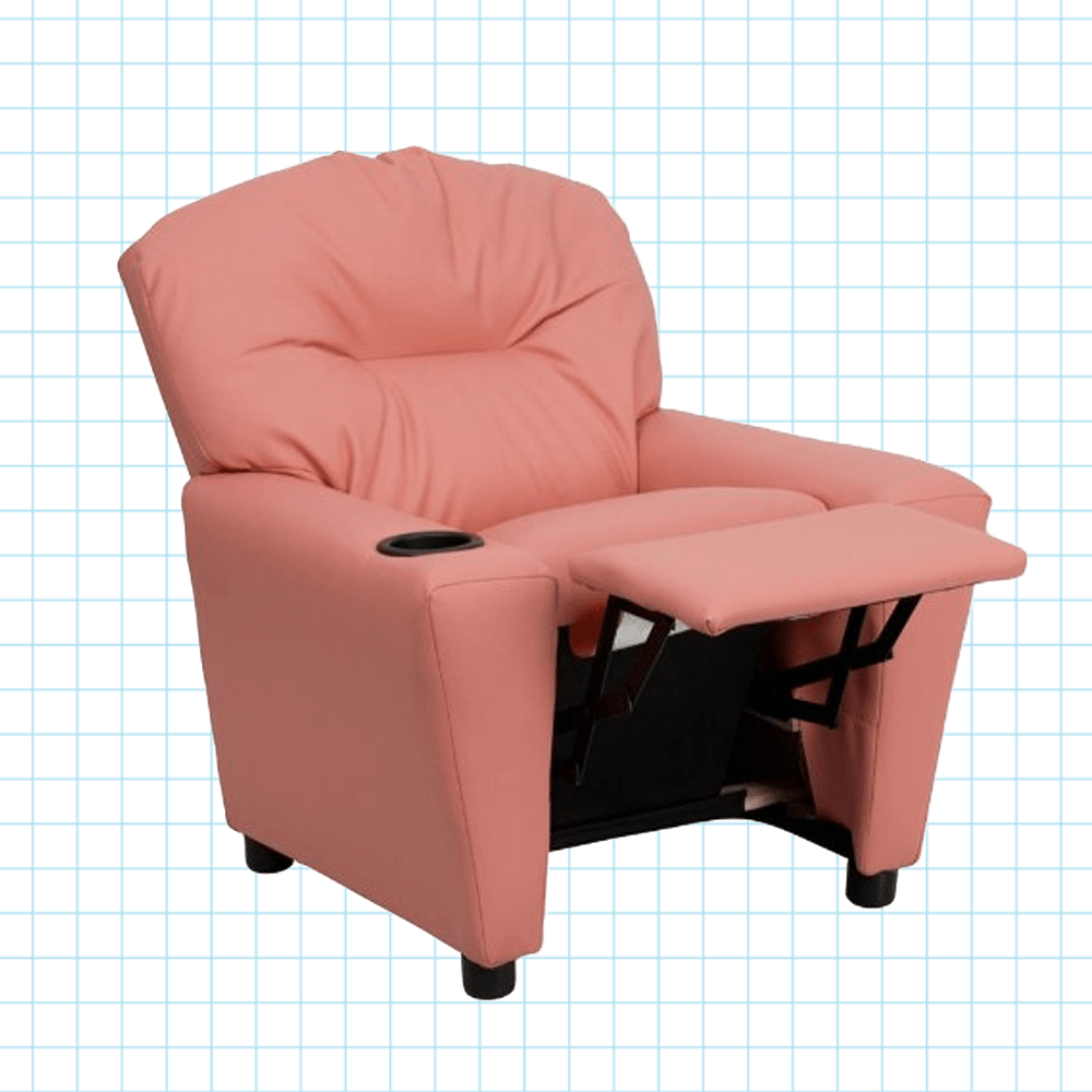 Best Rated Small Recliners Contemporary Pink Vinyl Kids Recliner With Cup Holder