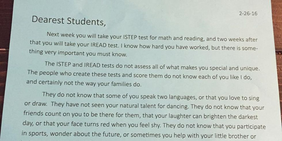 Why This Teacher\u0027s Heartfelt Letter Left One Student in Tears - letter to students from teacher