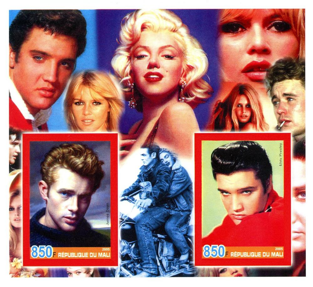 Elvis Marilyn Monroe Mali Sheet Mnh Imperf Elvis James Dean Marilyn Monroe Bardot