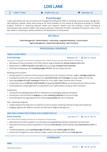 Brand Manager Resume Sample by Hiration - brand manager resume