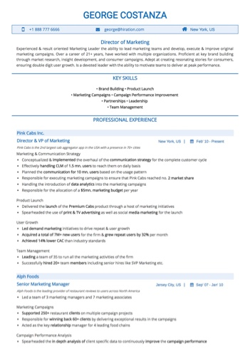 Marketing Head Resume Sample by Hiration - sample resume for marketing