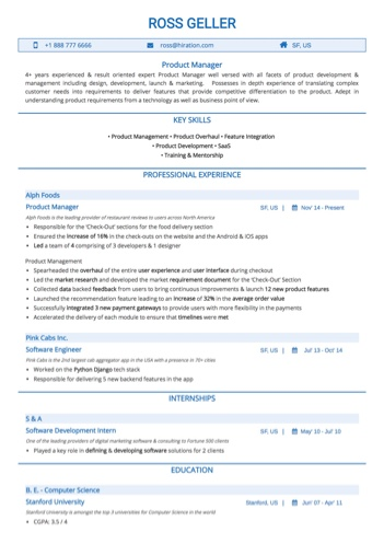 Technology Resume Examples and Samples - product manager resume examples