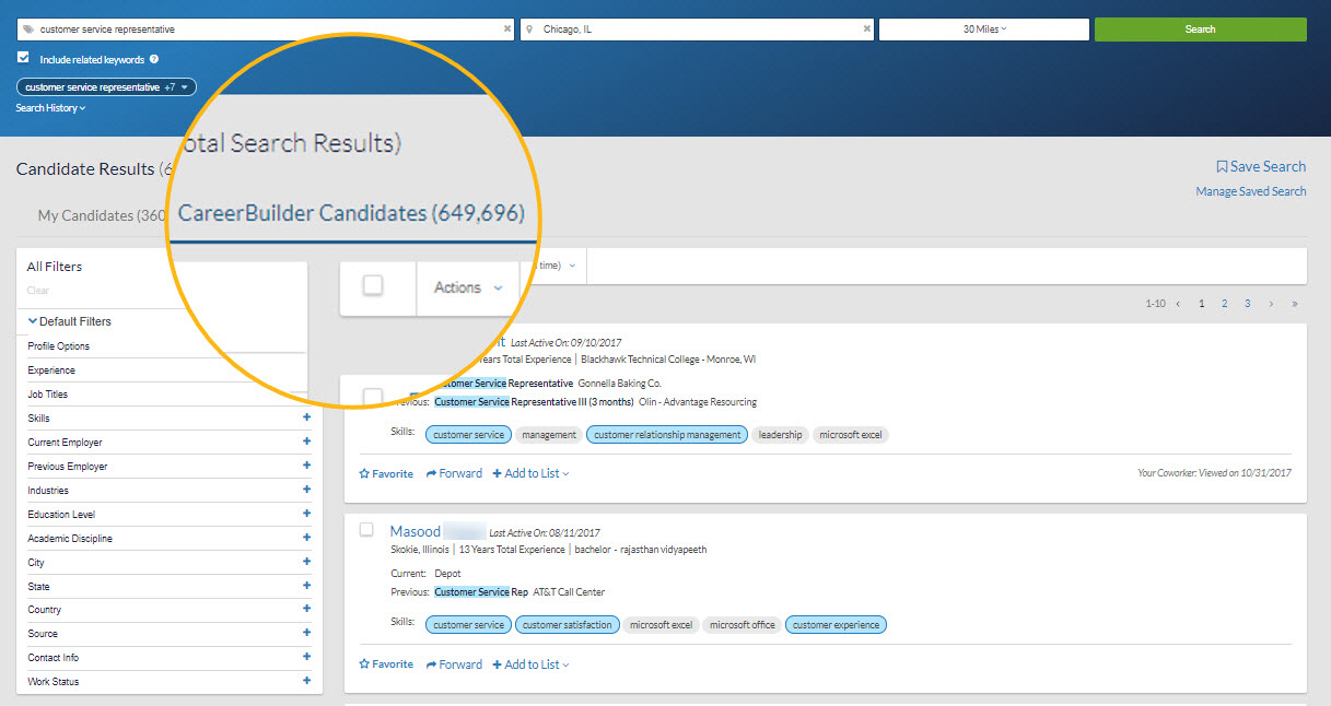 Candidate Search  Engagement Platform CareerBuilder for Employers