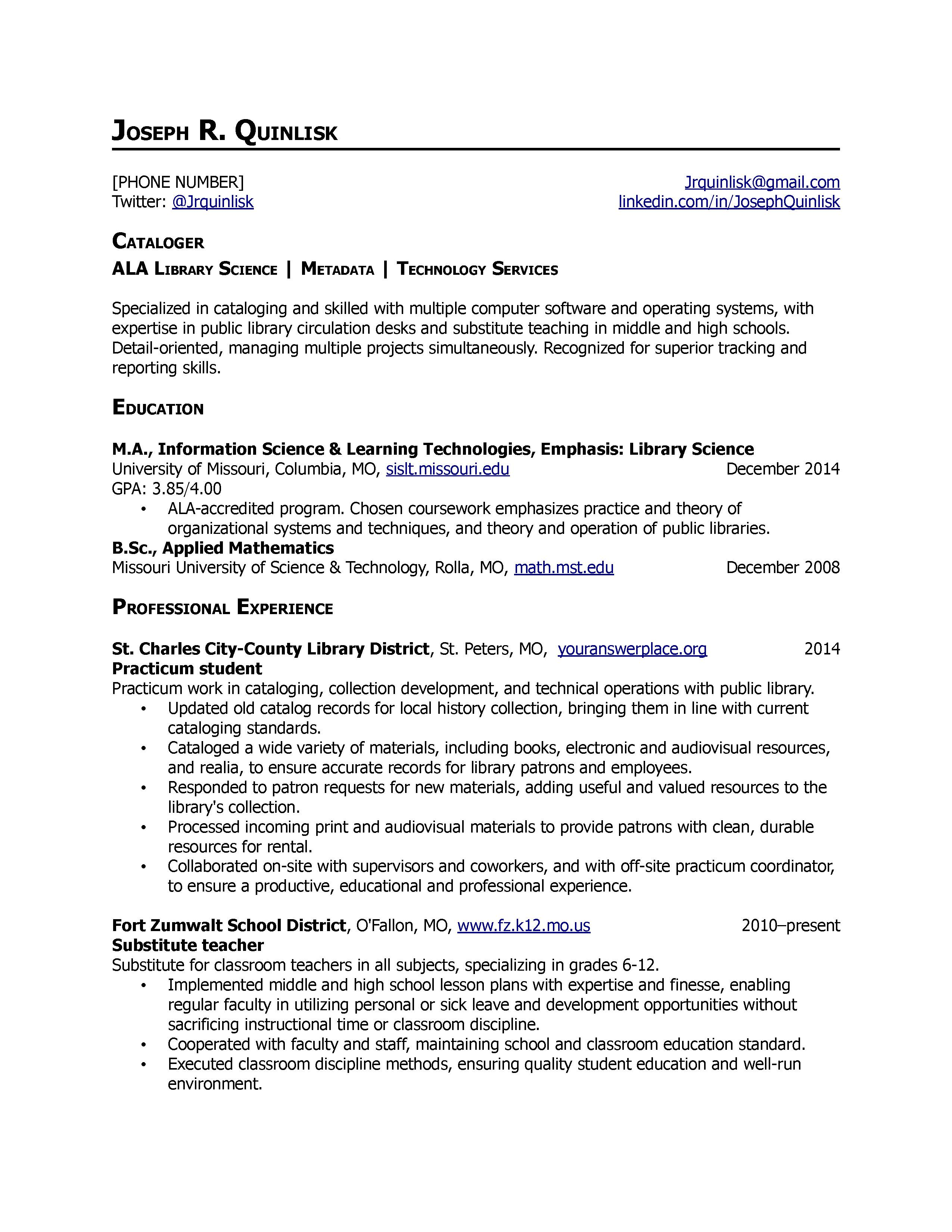 academic librarian resume example