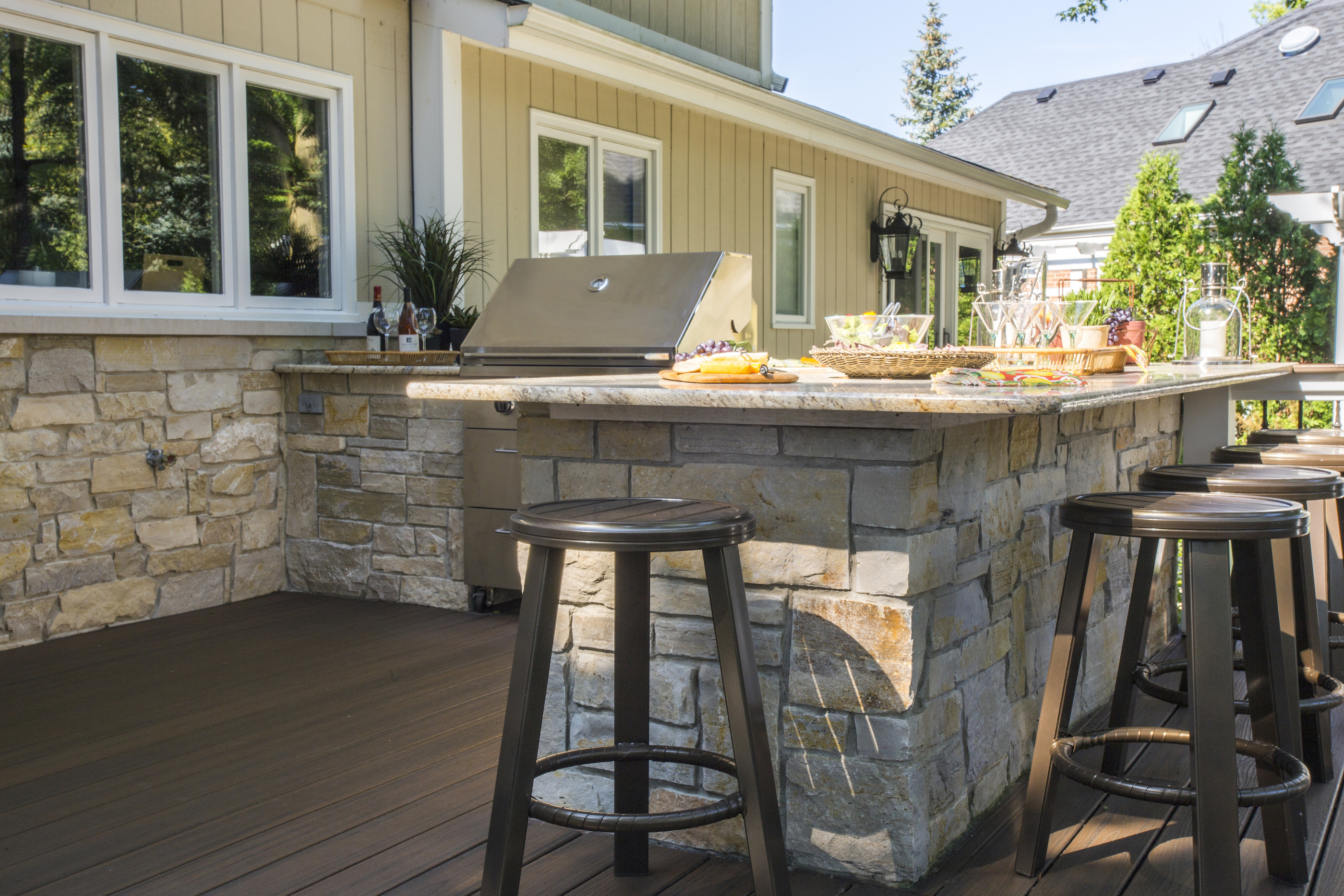 Blue Stone Countertop Outdoor Kitchens Hirsch Brick And Stone