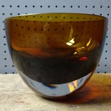 Vintage amber art glass bowl | H is for Home