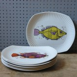Vintage Aquarius fish plates
