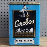 Large blue Cerebos table salt tin
