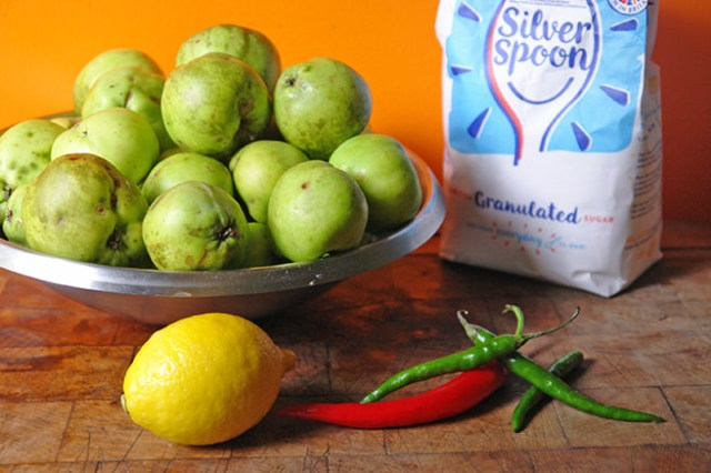 Home-made apple and chilli ingredients