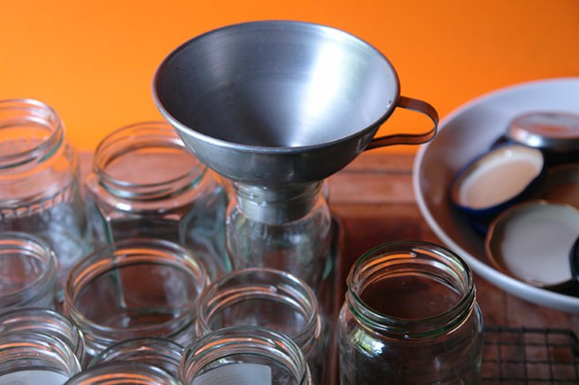 Sterilized jelly jars and funnel | H is for Home