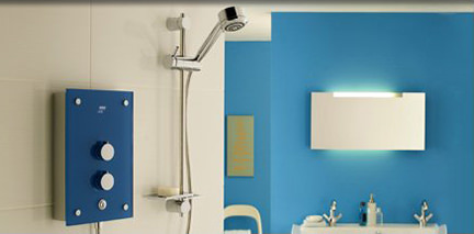 Mira shower room with blue feature wall