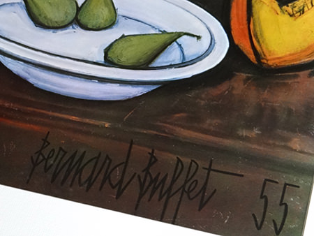 detail of signiture on Bernard Buffet still life vintage print