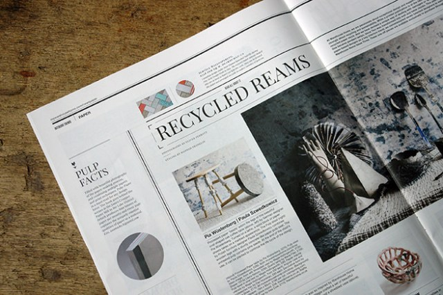 'Recycled Reams' article in Warehouse Home magazine