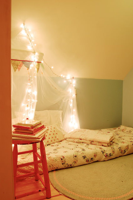 Fairy lights in a child's bedroom