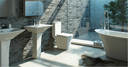 modern slate-walled bathroom