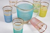 set of vintage frosted jug and glasses