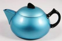 sky blue vintage 1950s powder coated aluminium teapot