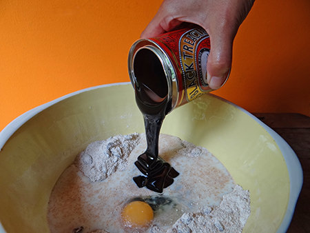 Adding treacle to the other black bread ingredients
