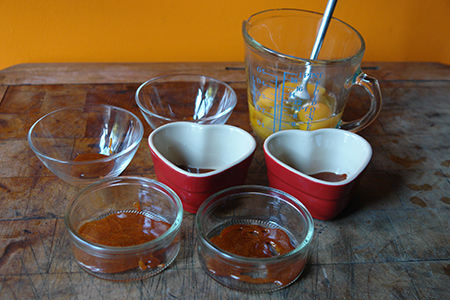 Caramel poured into moulds
