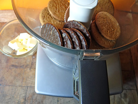 Dark chocolate digestives and butter