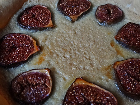 Honey-roasted fig & marzipan tart before going into the oven