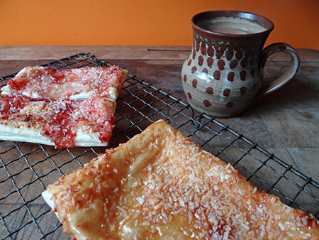 Jam & coconut slice cooked | @hisforhome