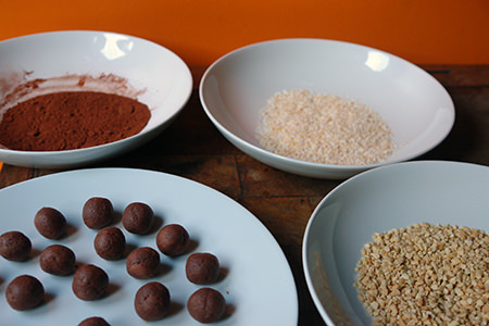 Chocolate petit fours with bowls of various toppings | H is for Home