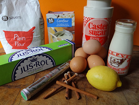 Portuguese custard tart ingredients