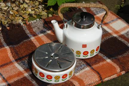 vintage white enamel kettle