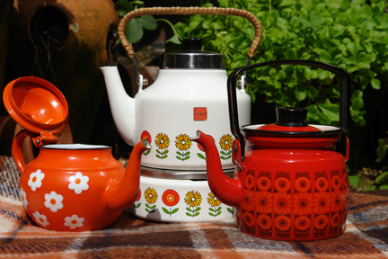 vintage enamel kettle, coffee pot and teapot