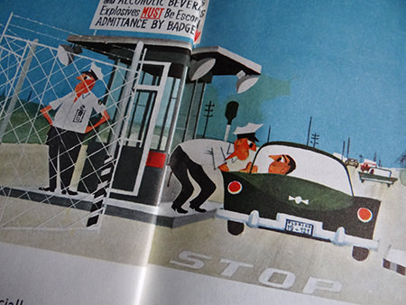 Vehicle checkpoint illustration from 'This is Cape Canaveral' book