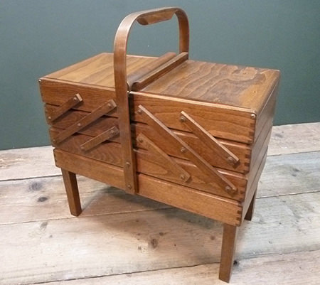 vintage cantilever sewing box for sale by & in support of Isabel Hospice
