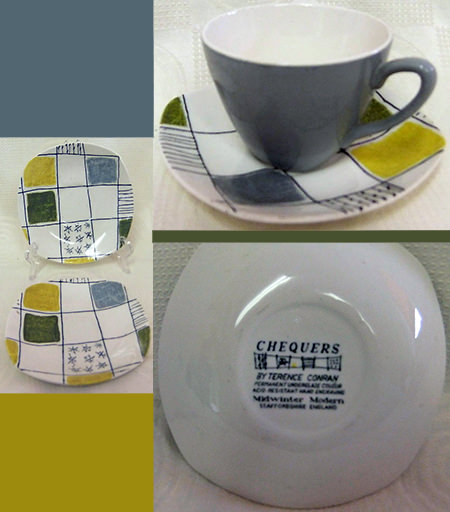 Vintage Midwinter Chequers tea cups & saucers for sale by Wigan & Leigh Hospice on eBay for Charity