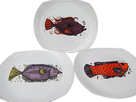 vintage Washington Pottery Aquarius fish plates for sale by & in support of Sense