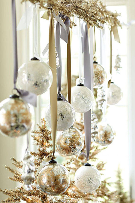 Metallic baubles hanging in a window