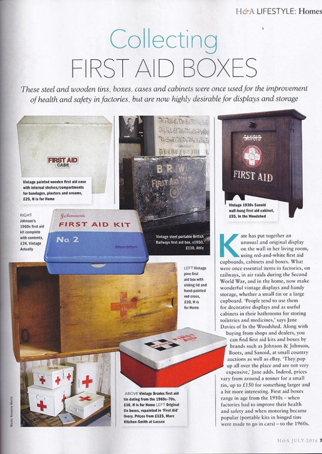 Homes & Antiques magazine article about collecting first aid boxes which includes examples from H is for Home shop stock
