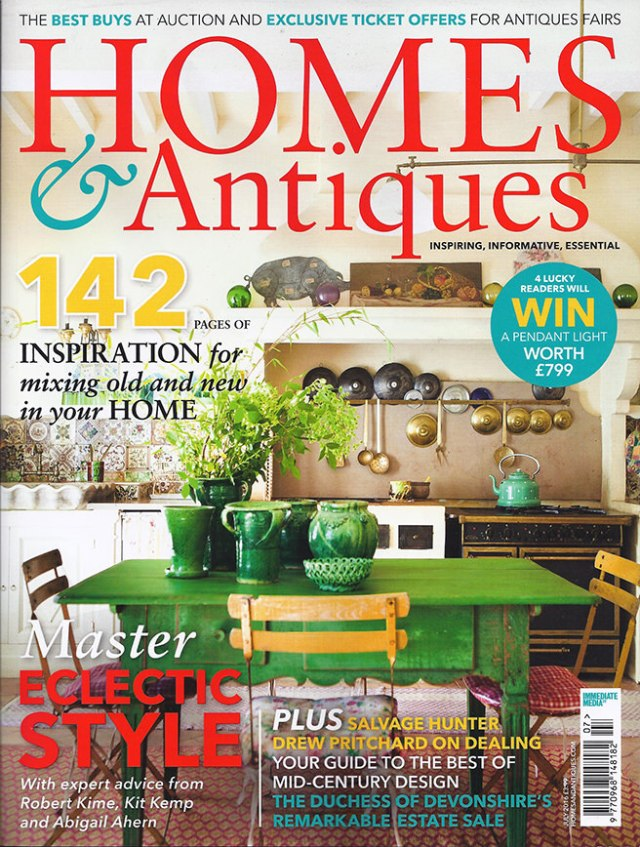 Homes and Antiques magazine cover - July 2016