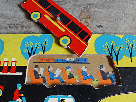Detailed view of vintage Galt Toys puzzle game showing the bus | H is for Home