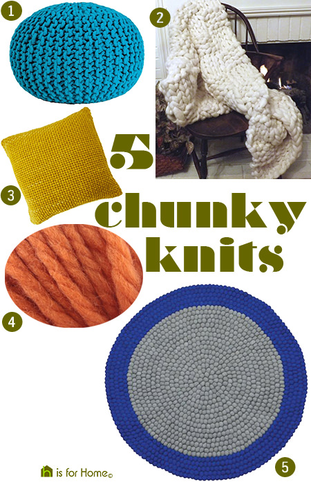 Selection of 5 chunky knit homewares | @hisforhome