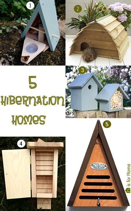 selection of 5 hibernation homes for garden wildlife