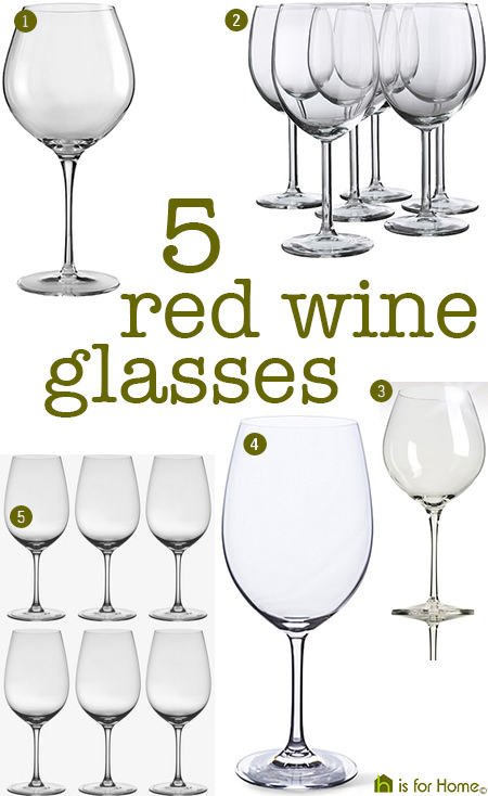 selection of 5 types of red wine glasses
