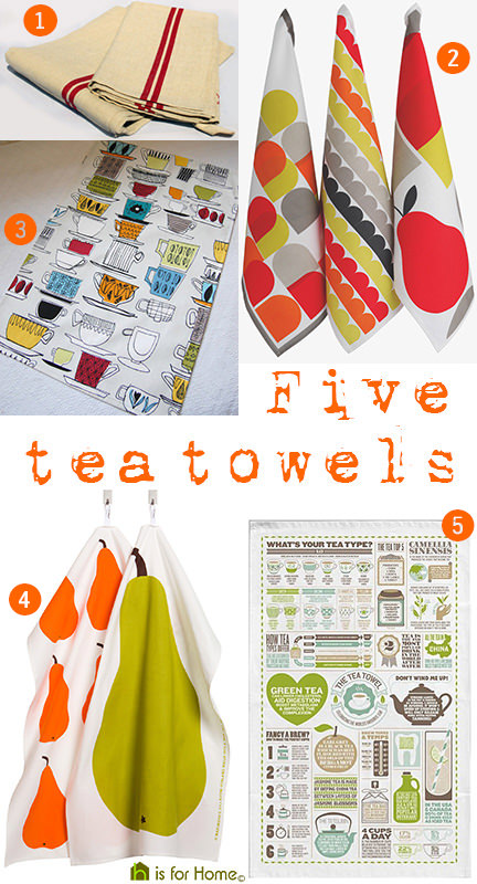 selection of 5 tea towels